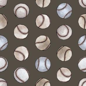 Baseball Back Then on Dark Brown