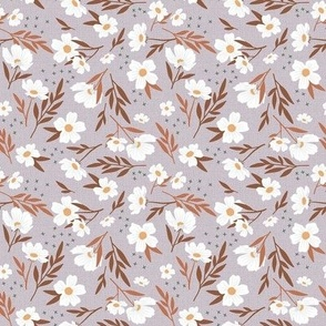 White Floral Frenzy on Dusty Lavender - Small Scale
