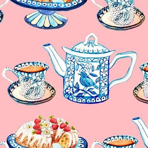 Jane Austen tea and cake small pink for Laurel