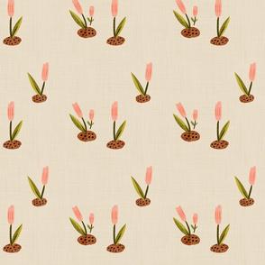 First Tulip - Painted Minimal Floral Ecru