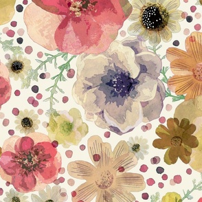 Hand Painted Floral Jumbo- Hand Drawn Vintage Flowers- Spring Romantic Large Scale Home Decor- Botanical Wallpaper