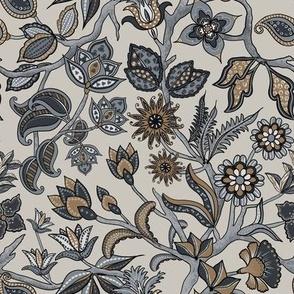 Indian floral.tan gray navy