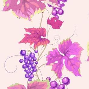 Leafy Violet Purple Grapevine Watercolor