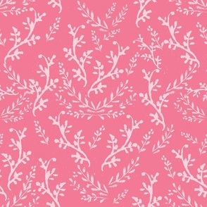 White Vines on Pink for Wildflowers