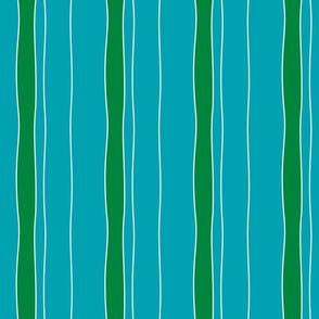 Turquoise & Green Stripe
