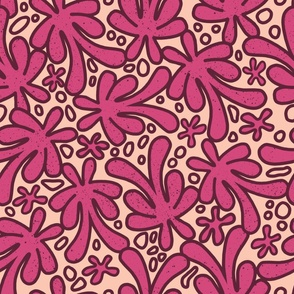 Bright Hand Drawn Floral - large scale suitable for home decor and apparel