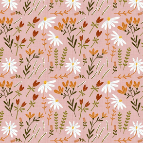 Modern Classic Hand Drawn Floral Baby Pink