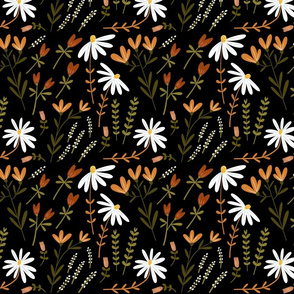 Modern Classic Hand Drawn Floral Moonless Night