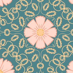 Extra Large Floral Arabesque in Yellow Gold Pink and Teal Green