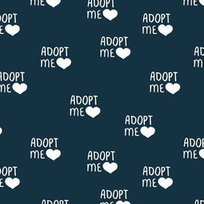 Adopt me pet love adopt don't stop dogs and cats good cause design navy blue white