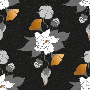 Cottonflower Gold and Black and White