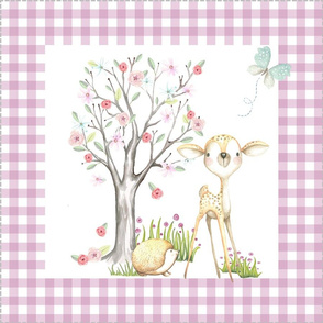 """18"""" WhisperWood Deer + Hedgehog, Flowering Tree (mulberry gingham) Pillow Front with dotted cutting lines"""