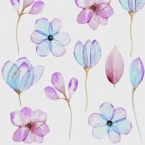 Canvas Floral Blue Violet Watercolor