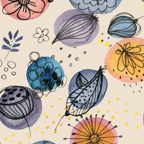 ink and watercolor florals