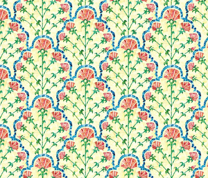Folk Carnation Scallop print