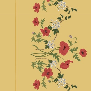 Poppies and Hawthorn Border Print on Gold