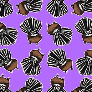 Cute Fantail multi directional - on purple