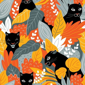 Black panthers  in jungle thickets (large scale)