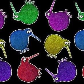 Cute Rainbow Kiwi multi directional - on black