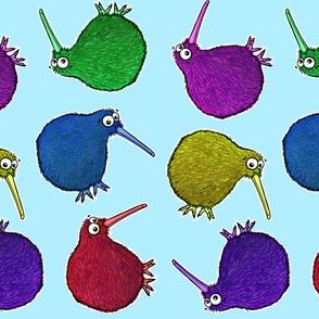 Cute Rainbow Kiwi multi directional - on baby blue