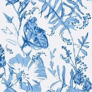 hand drawn blue and white floral chintz