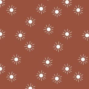Little sunny day sunshine summer sky minimal abstract boho neutral nursery Scandinavian style brick rust red