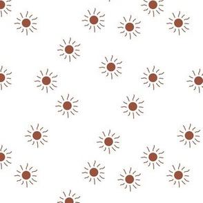 Little sunny day sunshine summer sky minimal abstract boho neutral nursery Scandinavian style brick rust red  on white