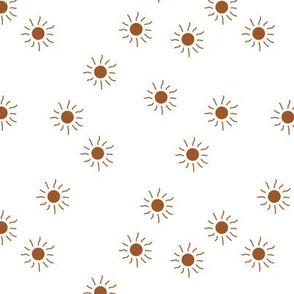 Little sunny day sunshine summer sky minimal abstract boho neutral nursery Scandinavian style brunt orange copper on white