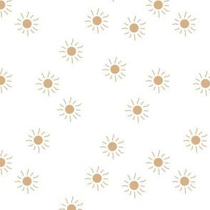Little sunny day sunshine summer sky minimal abstract boho neutral nursery Scandinavian style butter yellow beige on white