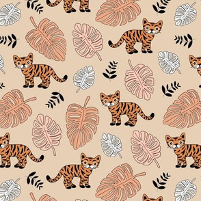 Little tiger love jungle and leaves tropical wild animals adventure kids theme neutral nursery orange beige
