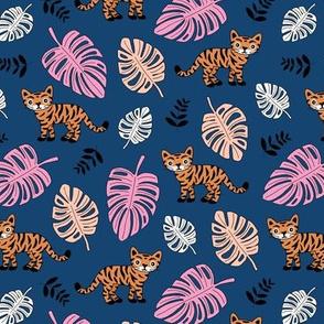 Little tiger love jungle and leaves tropical wild animals adventure kids theme neutral nursery navy pink blush orange night