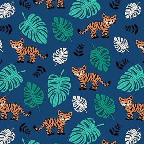 Little tiger love jungle and leaves tropical wild animals adventure kids theme neutral nursery navy blue green orange night