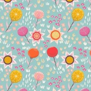 Sunshine and stylised flowers
