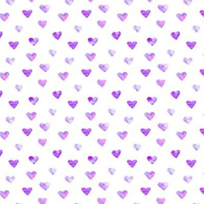 Orchid violet hearts - smaller scale - watercolor valentine's pattern p86-13