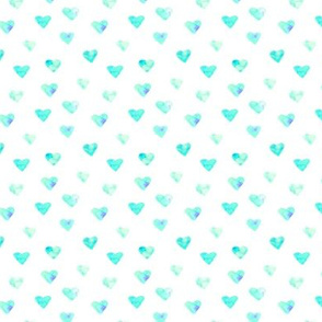 Mint hearts - smaller scale - watercolor valentine's pattern p86-13
