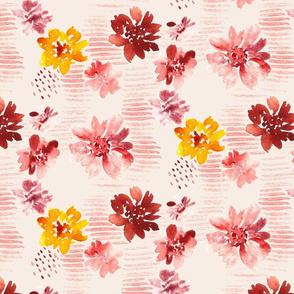 Watercolor summertime flowers