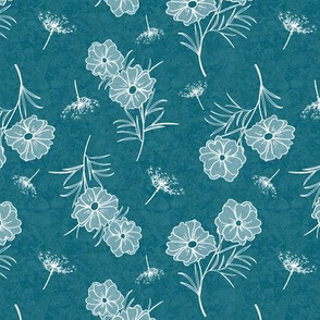 Cosmos and Queen Anns Lace on Ocean Blue Texture