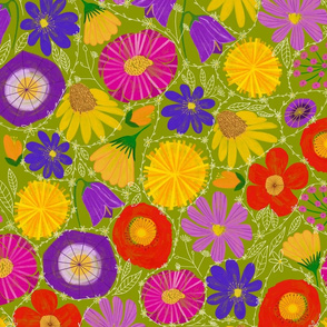 Daisy chain entwined wildflowers green