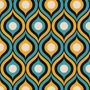 Retro ogee peacock teal goldenrod yellow black contour large Fabric