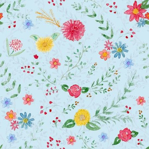 Hand Painted Wildflowers Blue