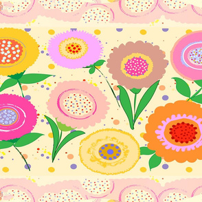 Colorful and Bright  Flowers Wallpaper