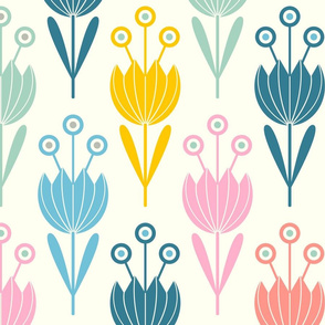 Spring Tulips Floral in Pastel Pink Blue Yellow Gray Green Red on White- LARGE Scale - UnBlink Studio by Jackie Tahara