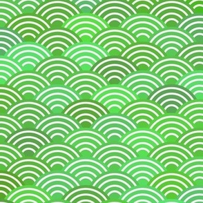 dragon fish scales simple pattern with japanese wave on green background.