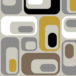 retro ovals Grey Mustard Taupe Black White