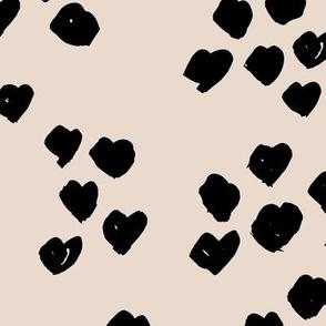 Messy animal print abstract hearts minimal spots and dots design cheetah dalmatian print boho nursery beige sand neutral black JUMBO wallpaper