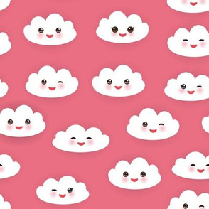 Kawaii funny white clouds, pink background