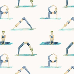 yoga pattern in teal and blue shades - self care  watercolor sporty women