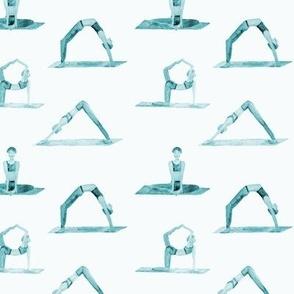 yoga pattern in emerald - watercolor wellness