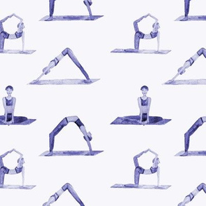 Purple yoga pattern - watercolor well-being