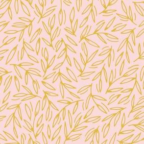Foliage / blush mustard large scale